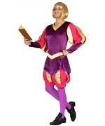 déguisement de bouffon médiéval pour homme avec tunique médiévale multicolore