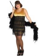 Déguisement charleston or grande taille femme avec robe et bandeau