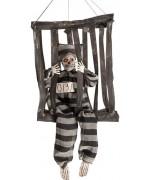 Squelette prisonnier en cage à suspendre pour votre déco d'halloween