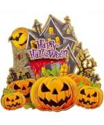 Décoration happy halloween, poster citrouille 40 x 40 cm