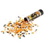 Canon à confettis orange et noir 15 cm - confettis halloween