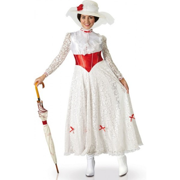 Déguisement de Mary Poppins pour adulte avec longue robe blanche et chapeau  , costume Disney