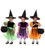 déguisement de sorcière pour bébés de 0 à 6 mois proposé en 3 couleurs
