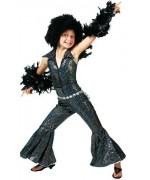 Déguisement disco noir à paillettes pour filles avec combinaison disco et mitaines
