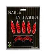 Set d'accessoires déguisement coccinelle femme - set de faux ongles et faux cils coccinelle