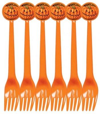 6 fourchettes citrouille halloween
