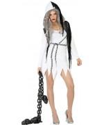 Incarnez un esprit  pour halloween grâce à ce déguisement de revenante noir et blanc pour femme