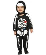 Déguisement de squelette pour bébé, idéal pour halloween ce costume pour bébé comprend une combinaison à cagoule