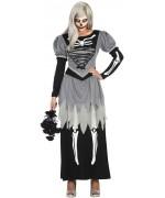Déguisement de mariée zombie pour femme, longue robe avec motif squelette - costume halloween