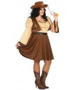 Déguisement de cowgirl grande taille pour femme proposé en taille XXL avec robe et ceinture
