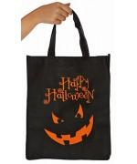 Sac à bonbons Happy Halloween de couleur noire, ce sac est décoré d'une terrifiante citrouille