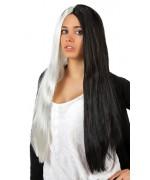 Longue perruque noire et blanche pour femme idéale pour accessoiriser de nombreux déguisements