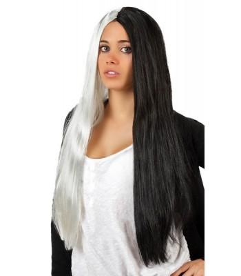 Longue perruque noire et blanche