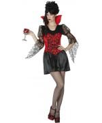 Robe de vampire pour femme de couleur noire et rouge - WA500S