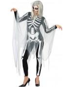 déguisement squelette pour femme avec combinaison imprimée et cape - deguisement fantome halloween