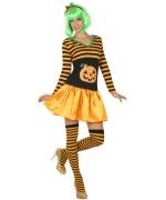 """Déguisement citrouille pour femme """"Happy Halloween"""" avec shorty humoristique"""