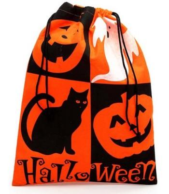 Sac à bonbons Halloween orange et noir