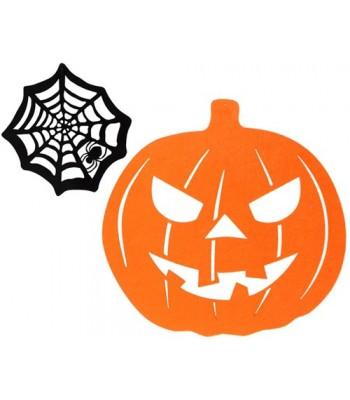 Décoration halloween citrouille toile d'araignée 36 cm