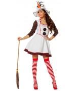 déguisement de bonhomme de neige pour femme avec robe et chapeau