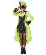 déguisement chapelier femme, longue veste vert fluo disponible en grande taille