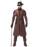 Costume steampunk luxe pour homme, long manteau d'époque avec ceinture
