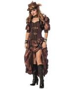 Déguisement steampunk luxe pour femme, robe d'époque victorienne et boléro