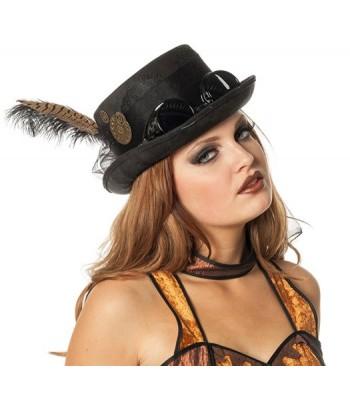 Chapeau steampunk noir pour femme avec lunettes