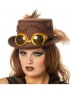 Chapeau steampunk marron avec lunettes pour femme - accessoire époque victorienne