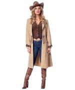 Costume western pour femme, long manteau de cowgirl avec gilet