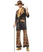 Déguisement bling bling homme avec veste, pantalon et chapeau leopard