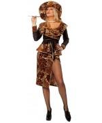 Costume bling bling pour femme, déguisement pimp leopard avec robe, manteau et chapeau
