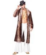 Manteau leopard pour homme, costume pimp bling bling idéal pour le carnaval