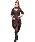 Déguisement steampunk pour femme, robe victorienne de couleur marron et noir