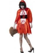 Déguisement chaperon rouge zombie pour femme, costume halloween