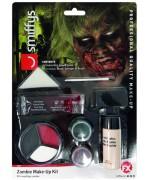 Le kit de maquillage complet pour réaliser un maquillage de zombie pour Halloween avec latex liquide, faux sang et grimages