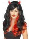 Perruque diablesse noire et rouge avec cornes - perruque halloween