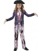 Déguisement de pirate zombie pour filles de 3 à 15 ans
