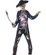 Déguisement de pirate zombie pour garçon avec haut, pantalon et chapeau de pirate