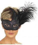 Masque vénitien noir avec plume - Masques & Loups