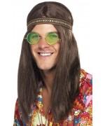 Set hippie pour adulte avec bandeau, collier peace and love et lunettes