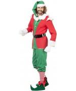 Costume de lutin de Noël pour homme rouge et vert - déguisements Noël