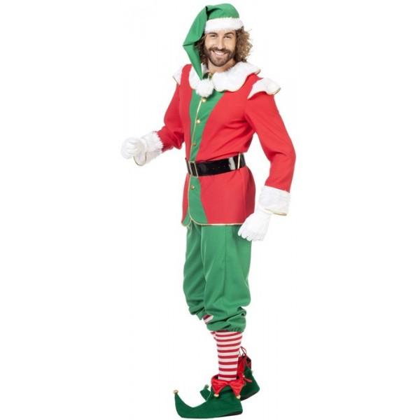 abdfc98566548 ... Costume de lutin de Noël pour homme rouge et vert - déguisements Noël  ...