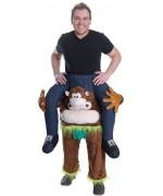 Costume sur les épaules d'un singe - pantalon avec singe en peluche et fausses jambes