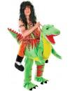 Déguisement monté sur un dinosaure, costume d'homme des cavernes sur son dinosaure en peluche
