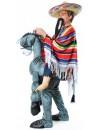 Déguisement monté sur un âne avec poncho et moustaches - costume humoristique avec animal