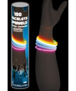 Tube de 100 bracelets lumineux idéal pour une soirée fluo ou sur le thème des années 80