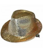 Borsalino sequin or - chapeau disco couleur or