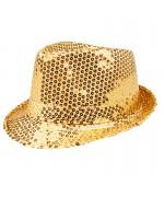 Borsalino sequin or - chapeau disco couleur or