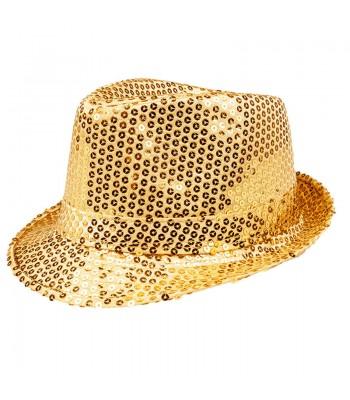 Chapeau borsalino doré à sequins