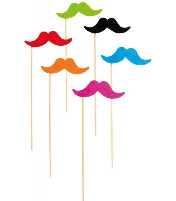 Lot de 6 moustaches fluo
